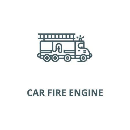 Car fire engine line icon, vector. Car fire engine outline sign, concept symbol, illustration