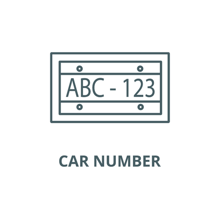 Car number line icon, vector. Car number outline sign, concept symbol, illustration