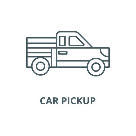 Car pickup line icon, vector. Car pickup outline sign, concept symbol, illustration