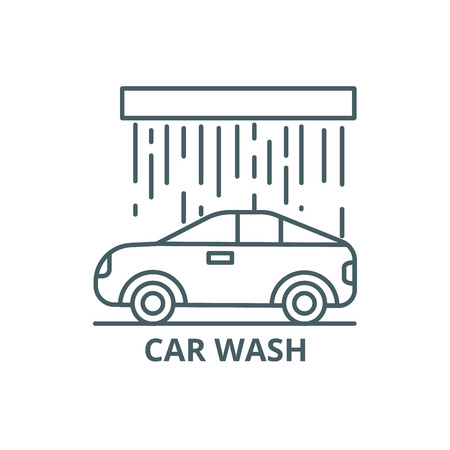 Car wash line icon, vector. Car wash outline sign, concept symbol, illustration