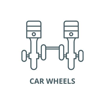 Car wheels line icon, vector. Car wheels outline sign, concept symbol, illustration Illustration