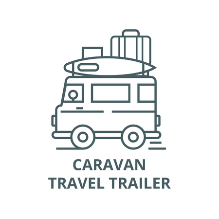 Caravan,travel camping trailer line icon, vector. Caravan,travel camping trailer outline sign, concept symbol, illustration Illustration
