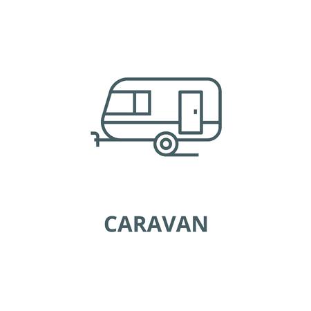Caravan line icon, vector. Caravan outline sign, concept symbol, illustration