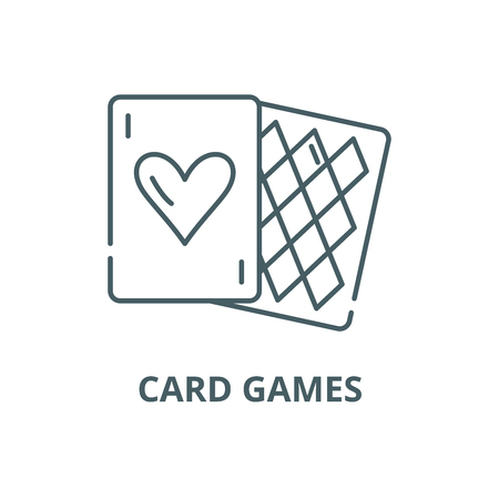 Card games line icon, vector. Card games outline sign, concept symbol, illustration