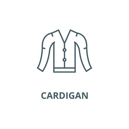 Cardigan line icon, vector. Cardigan outline sign, concept symbol, illustration Archivio Fotografico - 120735320