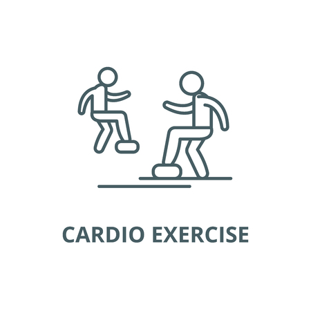 Cardio exercise line icon, vector. Cardio exercise outline sign, concept symbol, illustration Illustration
