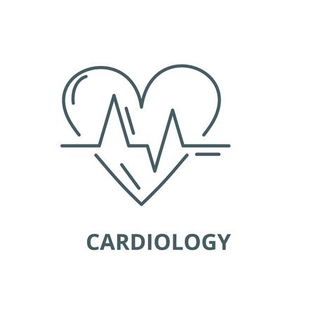 Icona della linea di cardiologia, vettore. Segno di contorno di cardiologia, simbolo di concetto, illustrazione Vettoriali