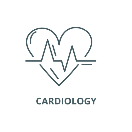Cardiology line icon, vector. Cardiology outline sign, concept symbol, illustration