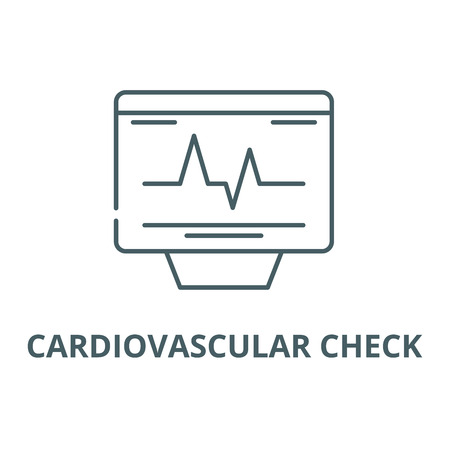 Cardiovascular check line icon, vector. Cardiovascular check outline sign, concept symbol, illustration Illustration