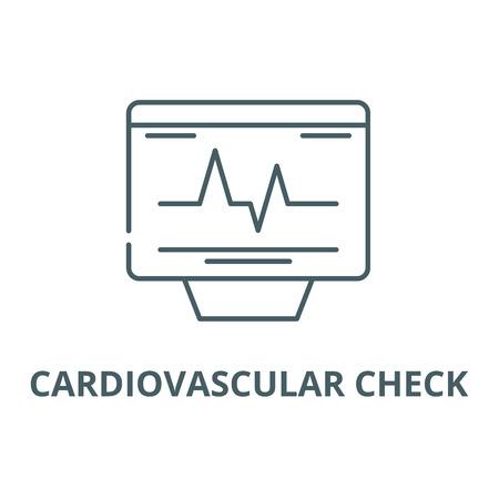 Cardiovascular check line icon, vector. Cardiovascular check outline sign, concept symbol, illustration Illustration