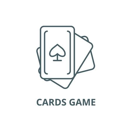 Cards game line icon, vector. Cards game outline sign, concept symbol, illustration