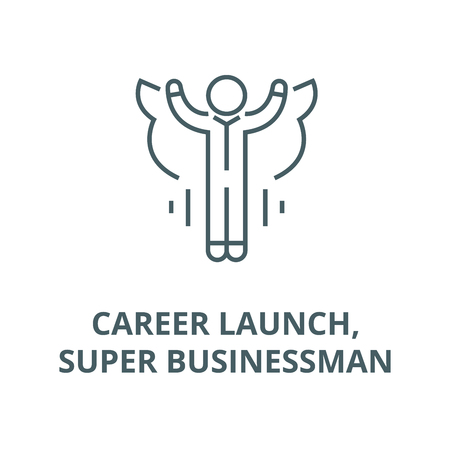 Career launch,super businessman line icon, vector. Career launch,super businessman outline sign, concept symbol, illustration