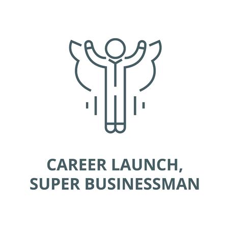 Career launch,super businessman line icon, vector. Career launch,super businessman outline sign, concept symbol, illustration