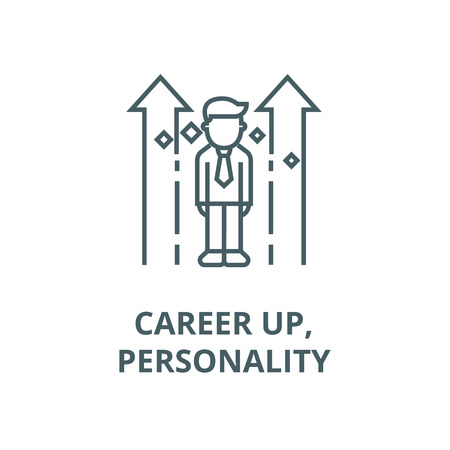 Career up,personality line icon, vector. Career up,personality outline sign, concept symbol, illustration