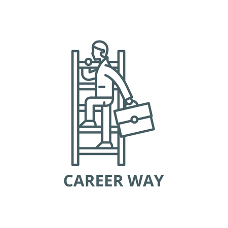 Career way line icon, vector. Career way outline sign, concept symbol, illustration