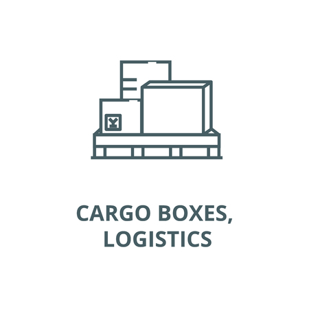 Cargo boxes, logistics line icon, vector. Cargo boxes, logistics outline sign, concept symbol, illustration