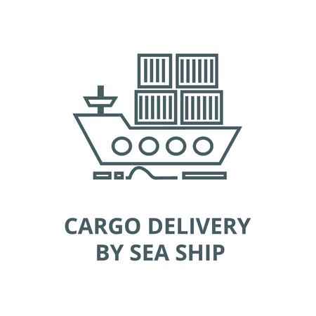 Cargo delivery by sea ship line icon, vector. Cargo delivery by sea ship outline sign, concept symbol, illustration