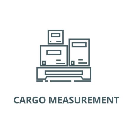 Cargo measurement line icon, vector. Cargo measurement outline sign, concept symbol, illustration