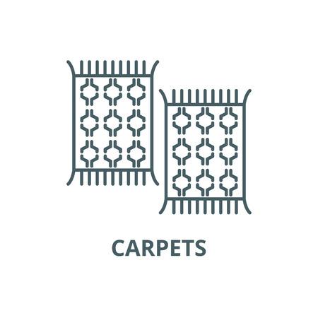 Ikona linii dywany, wektor. Dywany konspektu znak, symbol koncepcji, ilustracja