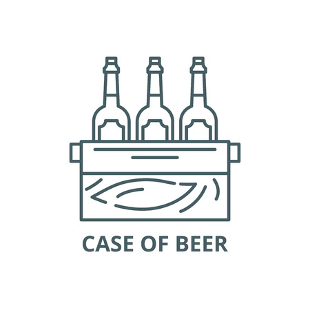 Case of beer line icon, vector. Case of beer outline sign, concept symbol, illustration