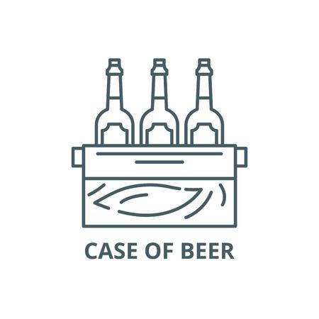 Case of beer line icon, vector. Case of beer outline sign, concept symbol, illustration Illustration