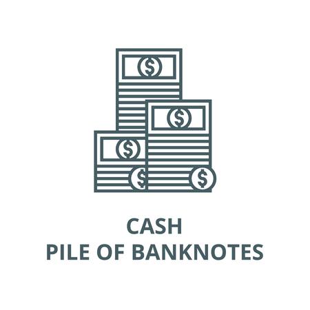 Cash,pile of banknotes line icon, vector. Cash,pile of banknotes outline sign, concept symbol, illustration
