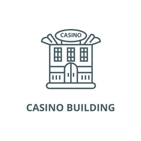 Casino building line icon, vector. Casino building outline sign, concept symbol, illustration