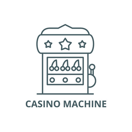 Casino machine line icon, vector. Casino machine outline sign, concept symbol, illustration Ilustração