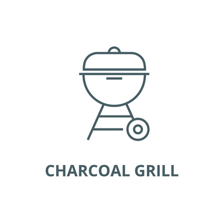 Charcoal grill  line icon, vector. Charcoal grill  outline sign, concept symbol, illustration