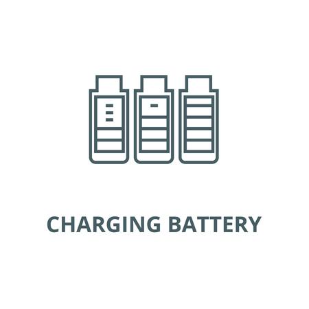 Charging battery line icon, vector. Charging battery outline sign, concept symbol, illustration Иллюстрация