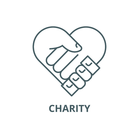 Charity,support head,  line icon, vector. Charity,support head,  outline sign, concept symbol, illustration