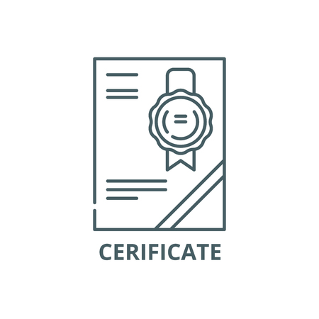 Cerificate line icon, vector. Cerificate outline sign, concept symbol, illustration