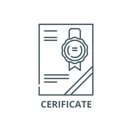 Zertifikat Symbol Leitung, Vektor. Zertifikatumrisszeichen, Konzeptsymbol, Illustration
