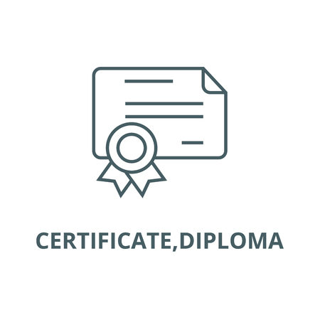 Certificate,diploma line icon, vector. Certificate,diploma outline sign, concept symbol, illustration Ilustrace