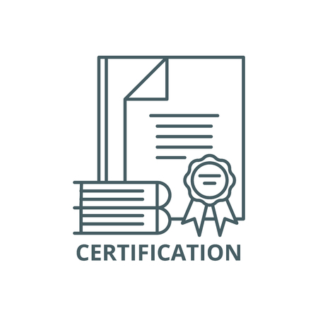 Icona della linea di certificazione, vettore. Segno di contorno di certificazione, simbolo di concetto, illustrazione Vettoriali