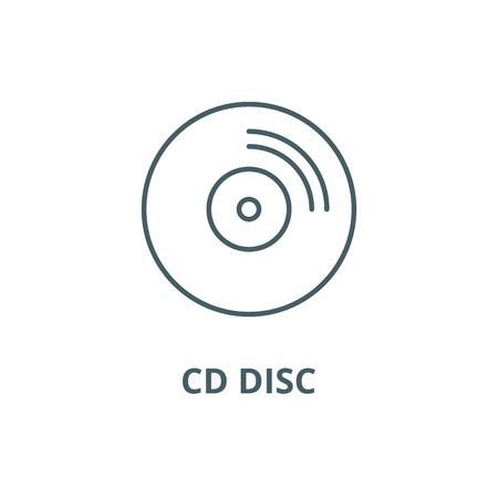 Cd disc line icon, vector. Cd disc outline sign, concept symbol, illustration Illustration