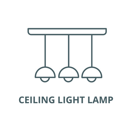 Ceiling light lamp  line icon, vector. Ceiling light lamp  outline sign, concept symbol, illustration Imagens - 120732578