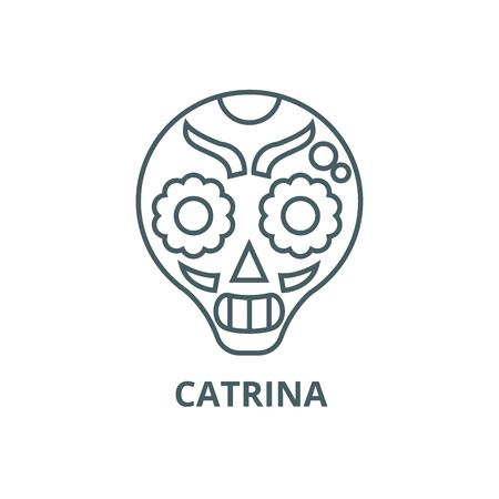 Catrina line icon, vector. Catrina outline sign, concept symbol, illustration
