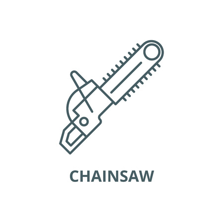 Chainsaw line icon, vector. Chainsaw outline sign, concept symbol, illustration