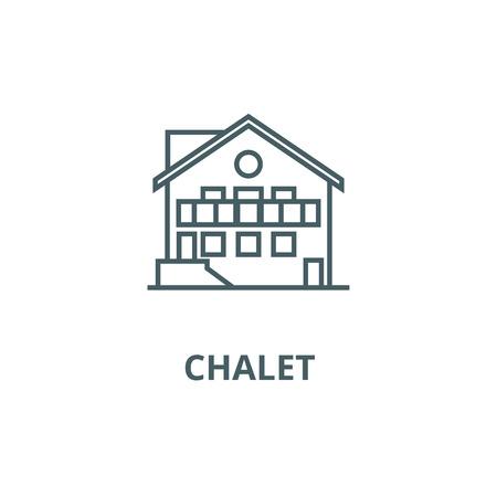 Chalet line icon, vector. Chalet outline sign, concept symbol, illustration