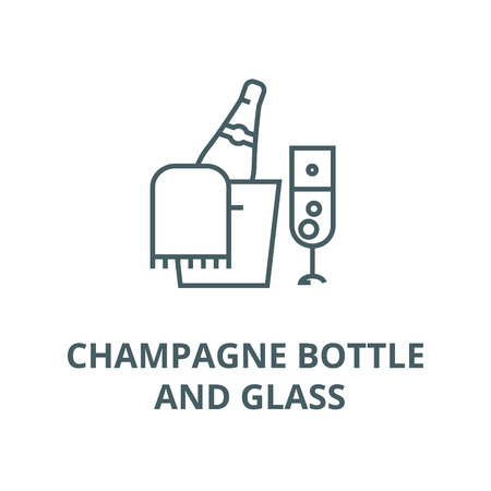 Champagne bottle and glass line icon, vector. Champagne bottle and glass outline sign, concept symbol, illustration