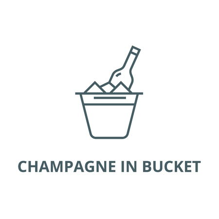 Champagne in bucket line icon, vector. Champagne in bucket outline sign, concept symbol, illustration Illustration