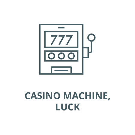 Casino machine,luck line icon, vector. Casino machine,luck outline sign, concept symbol, illustration  イラスト・ベクター素材
