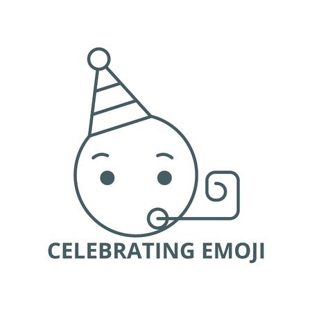Celebrating emoji line icon, vector. Celebrating emoji outline sign, concept symbol, illustration
