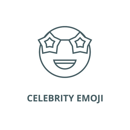 Celebrity emoji line icon, vector. Celebrity emoji outline sign, concept symbol, illustration