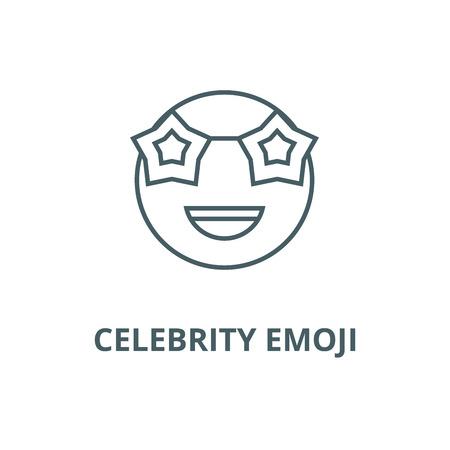 Celebrity emoji line icon, vector. Celebrity emoji outline sign, concept symbol, illustration