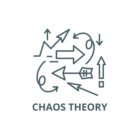 Chaos theory line icon, vector. Chaos theory outline sign, concept symbol, illustration