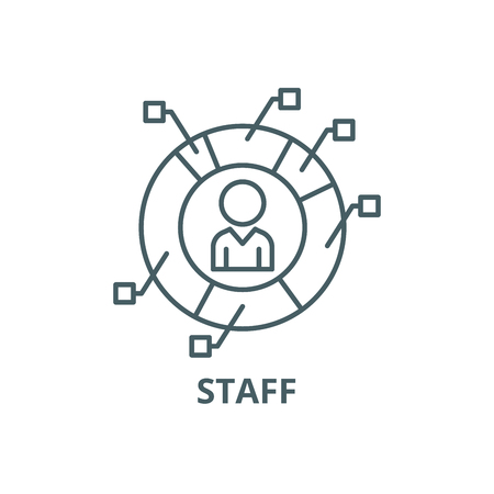 Characteristics of staff line icon, vector. Characteristics of staff outline sign, concept symbol, illustration Illustration