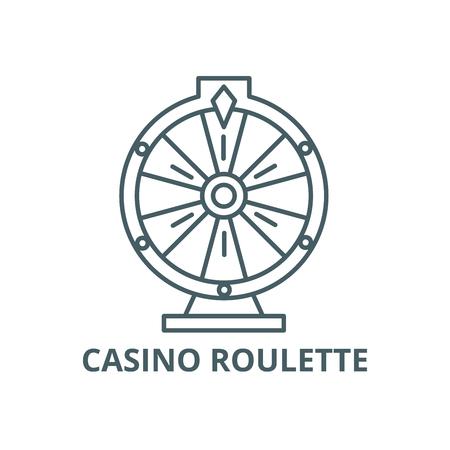 Casino roulette line icon, vector. Casino roulette outline sign, concept symbol, illustration