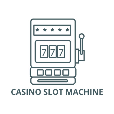 Casino slot machine line icon, vector. Casino slot machine outline sign, concept symbol, illustration